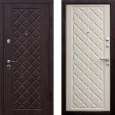 Дверь металлическая РОМБЫ 3К венге рифленый/лиственница белая 960*2050 правая