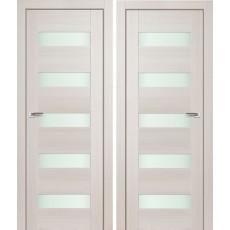 Дверное полотно АМАТИ-03 эшвайт экошпон ПО-800 белое стекло