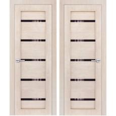 Дверь 3D покрытие ЭКОЛайт 1 Капучино ДО-800 черное стекло
