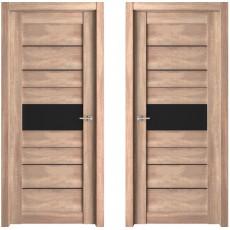 Дверь ЭКО Deluxe 303 трюфель ДО-700 черное стекло