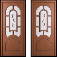 Дверь шпонированная Татьяна орех ПО-700 художественное стекло